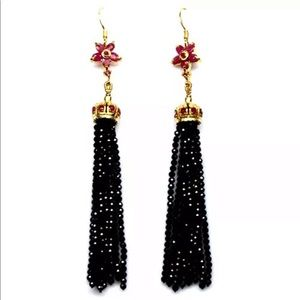 Jewelry - Real ruby and black spinel long earrings